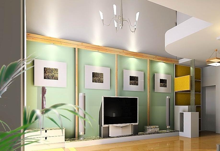 挑空的客厅的电视机背景墙如何处理?