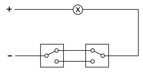 两个双控单键开关控制一个灯的