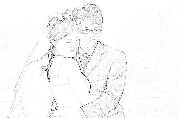 铅笔画漫画人物新娘