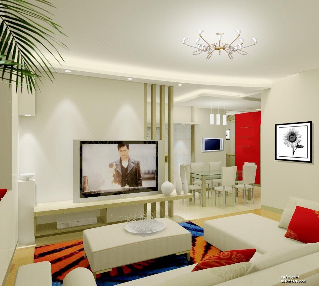 依旧是客厅的效果图.由于电视机墙太短,所以加了4根柱子.