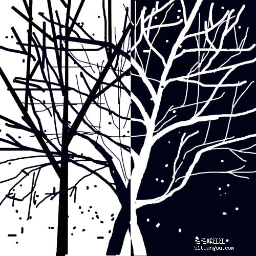 手绘简单小图案树