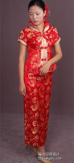 69元转让全新大红新娘旗袍 有造型参考上真人秀参考图片