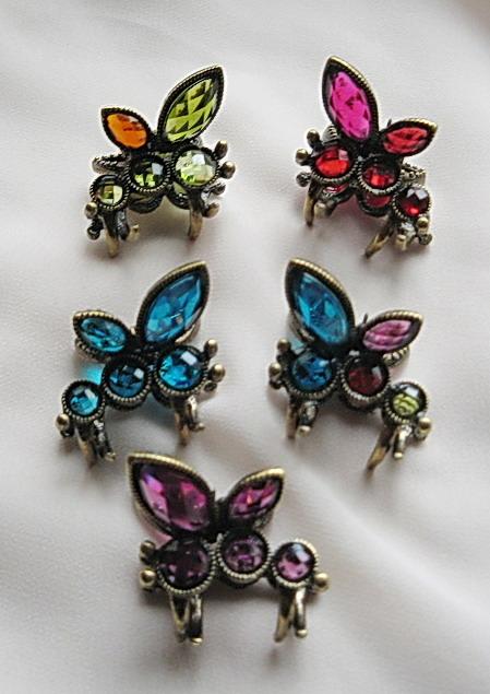品名:复古小蜻蜓小发夹  货号:hd00036  颜色:紫色,蓝色,红色,彩色