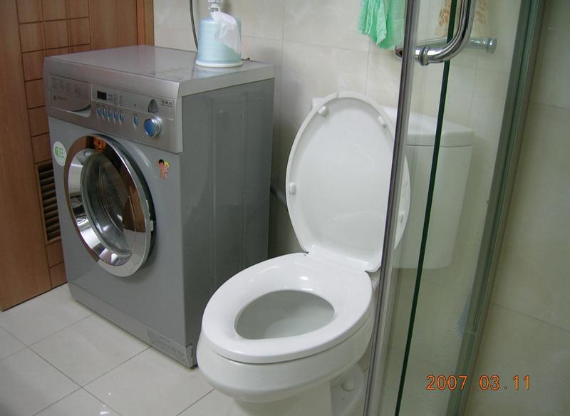 79.台盆柜对面的洗衣机和马桶