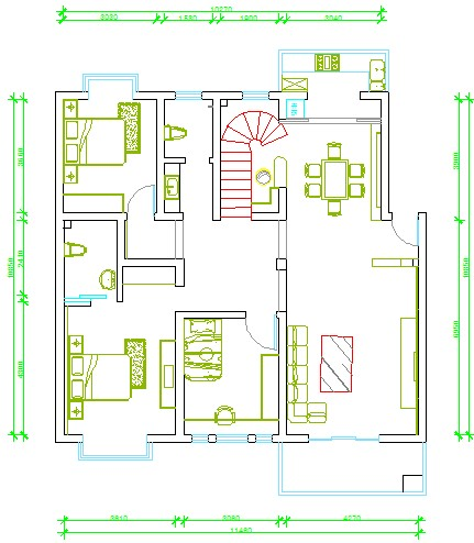 最近买了一套房子,140平方带人字型的跃层,楼下是四室二厅,楼