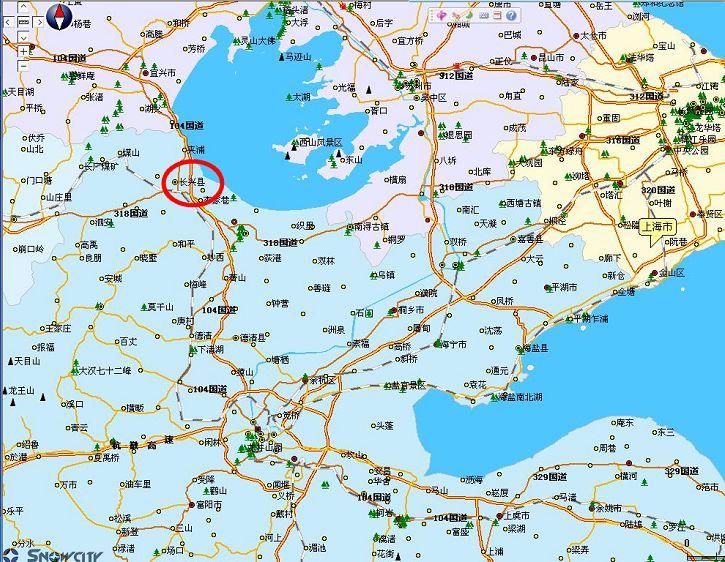 在中国旅游地图上找到了长兴