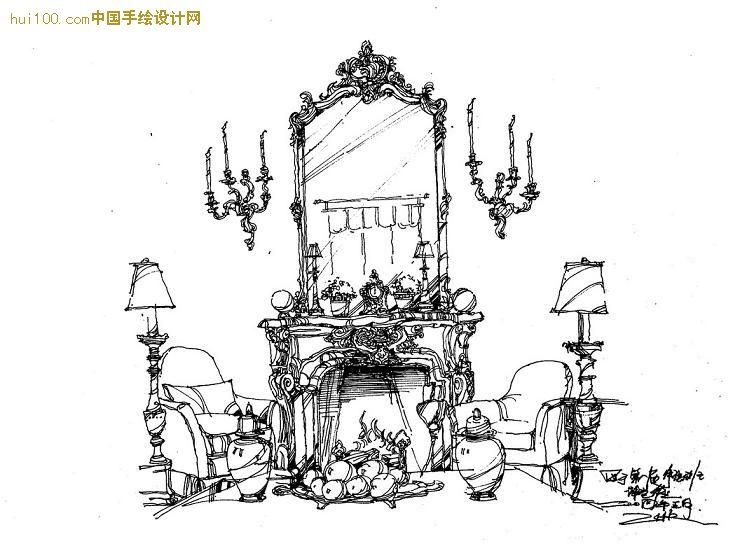 欧式沙发马克笔手绘图
