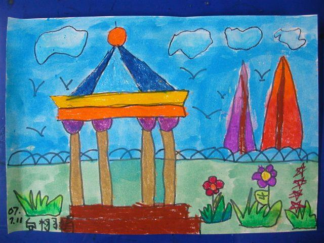 风景儿童画白描写生展示