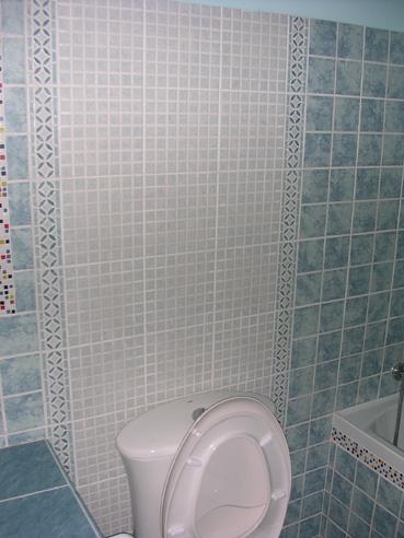 用腰线和白色马赛克式瓷砖在马桶后面做一块背景,既省腰线又