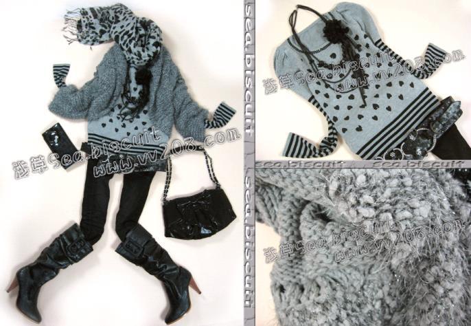 深灰色粗毛线时尚感披肩式手钩织外套-179