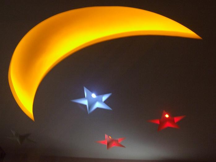都是她自己想的,客厅心型吊顶,卧室星星月亮吊顶,星星的灯会图片