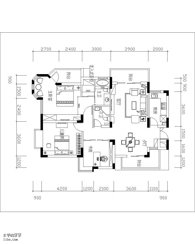 120平方房子设计图dwg展示