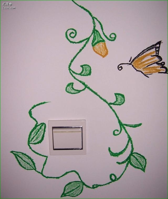 花花草草家----简单墙面手绘图