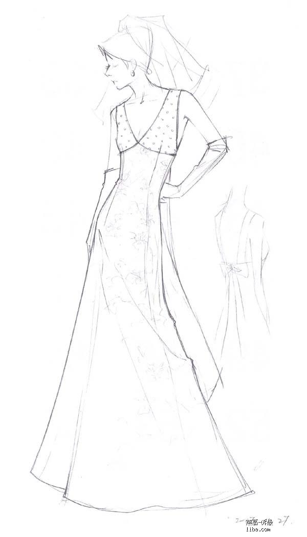 旗袍设计图笔手稿