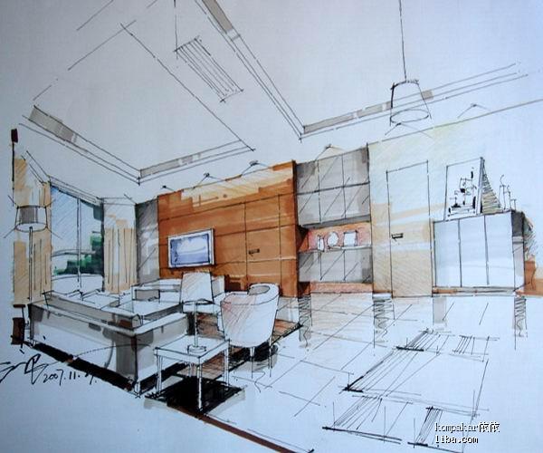 这是设计师的手绘图客厅