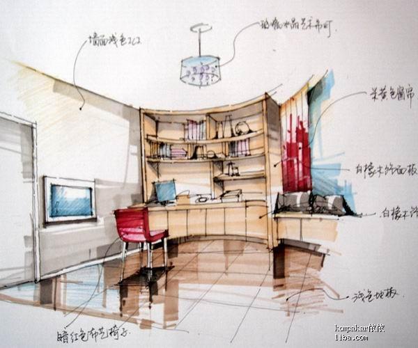 这是设计师的手绘图书房