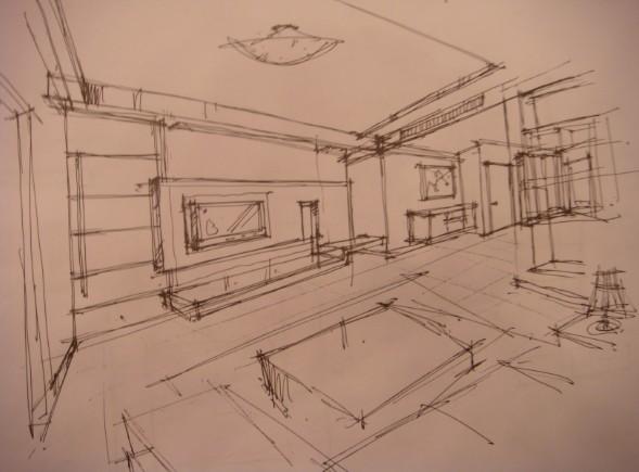 手绘图2,客厅效果图