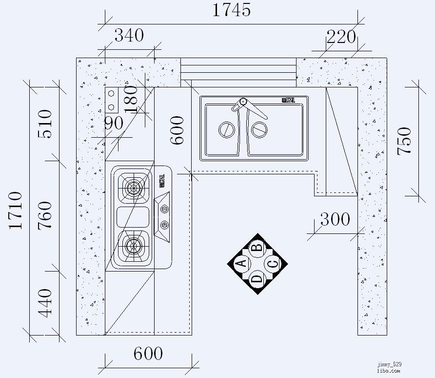 图为橱柜的俯视图,稍后上立面图