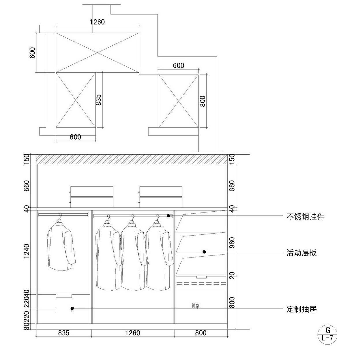 步入式衣柜设计图图片