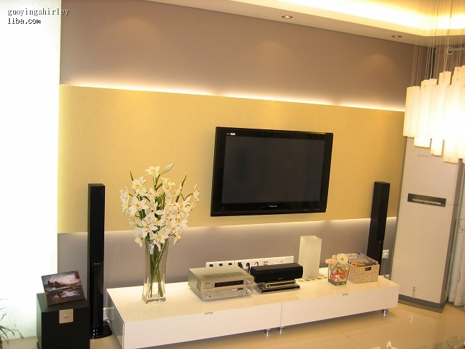 客厅硅藻泥的电视背景墙