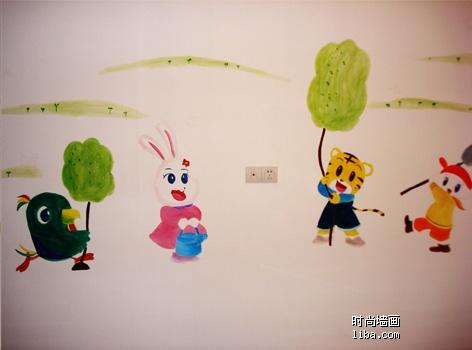 手绘墙画素材动物