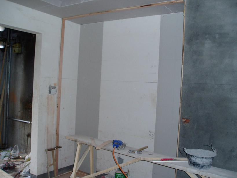 这个是饭厅的柜子背景墙,还没有做完哦