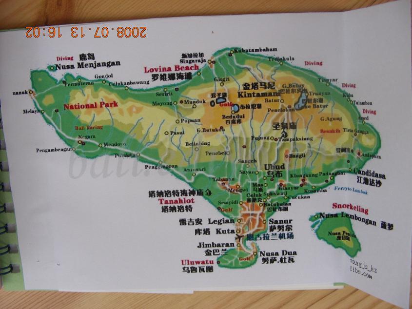 巴厘岛景点分布图