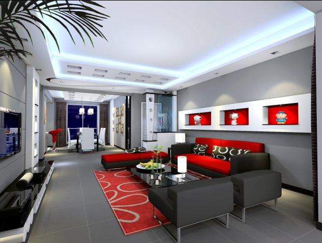 这个是客厅室内效果图 实际的地砖要比这个颜色浅 是简约