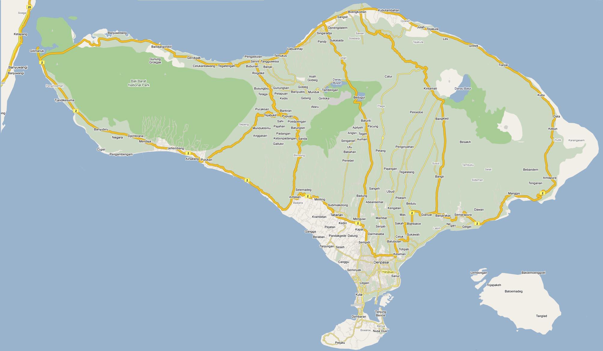 巴厘岛google地图全貌