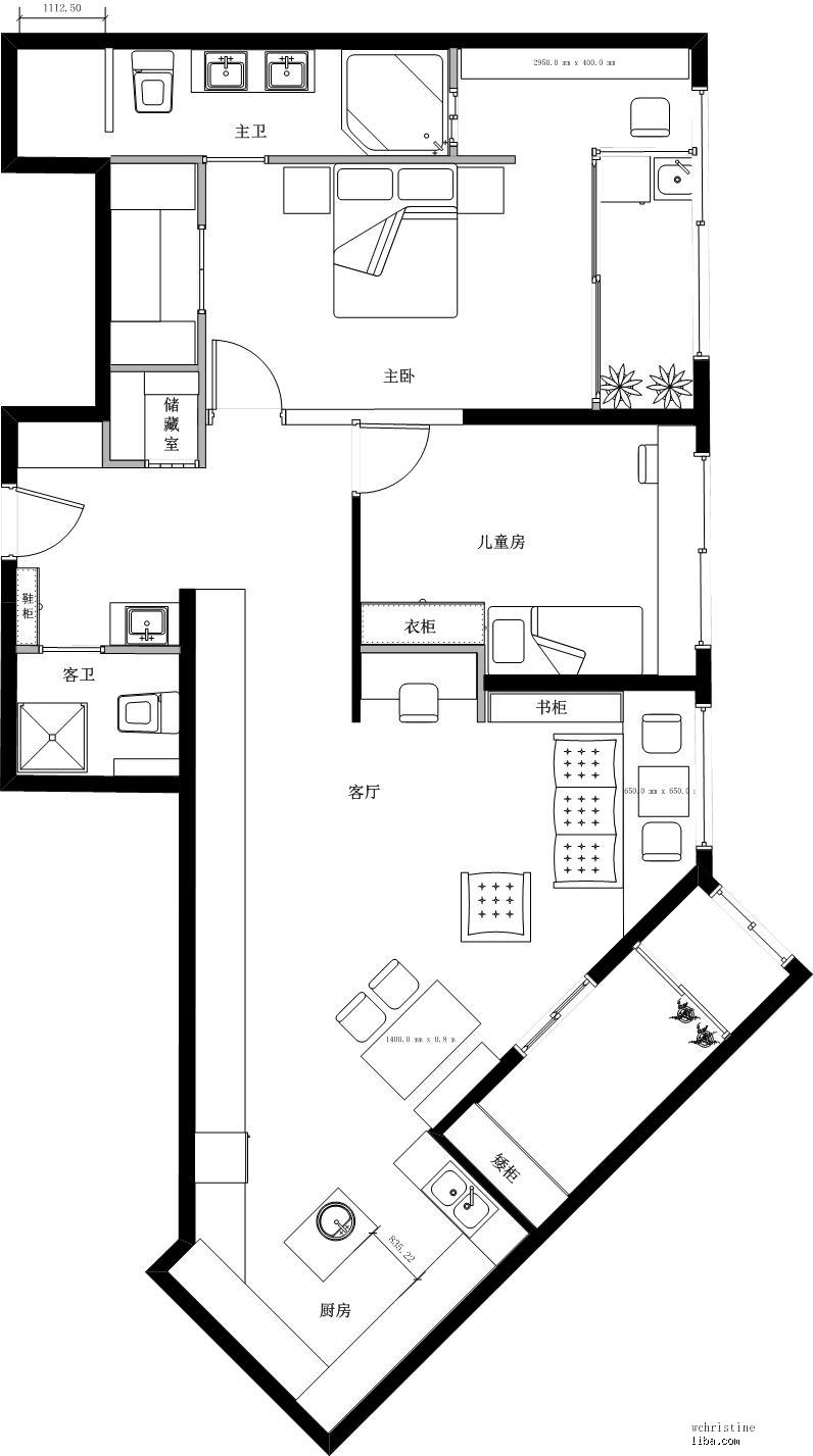 新上用visio画的房型图