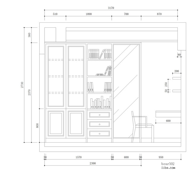 書柜的平面圖,大家覺得把最上面的3層改4層會不會影響整體圖片