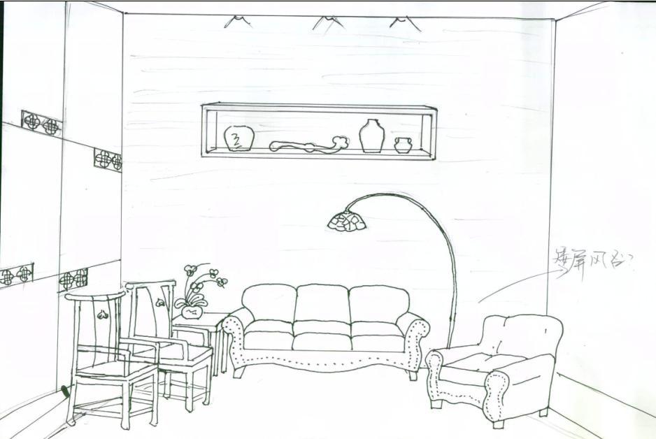 手绘储藏楼梯线稿
