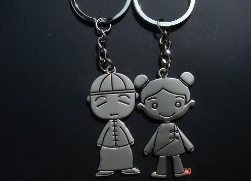 古装小人男女情侣钥匙扣