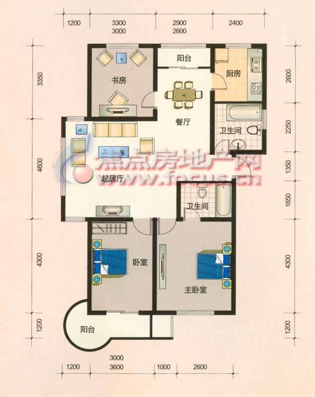 三室两厅两卫的房子 觅设计图图片
