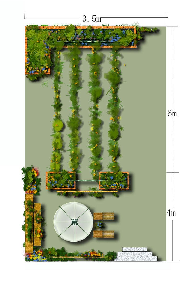 平面图阳台植物手绘