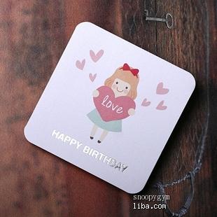 韩国doa|迷你生日贺卡|生日卡片|附信封*幸福小公主
