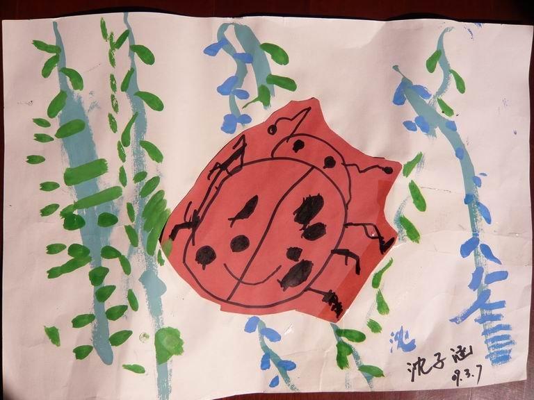 先画一个简笔画七星瓢虫