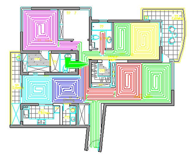 请各位达人帮忙看看地暖(水暖)的排管设计图是否合理图片