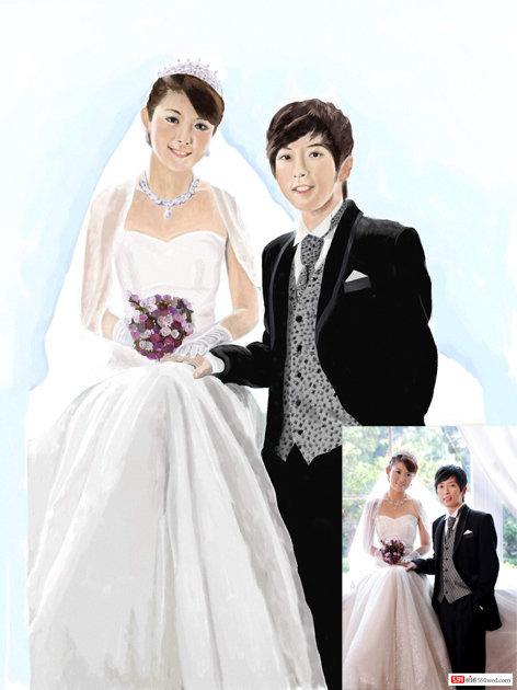 主题:今天刚画完的水彩婚纱照 持续更新中~~~坚持一天一图