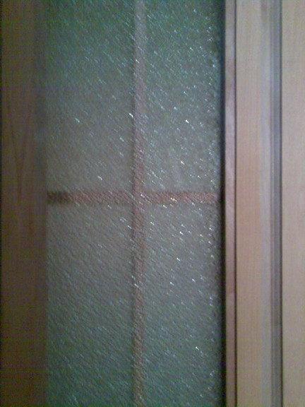 卫生间的钻石玻璃门也好了