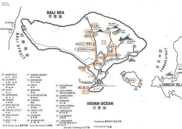 巴厘岛景点地图