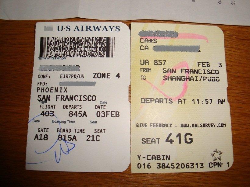 借朋友回来的飞机票拍下照:phoenix(凤凰城)-> san