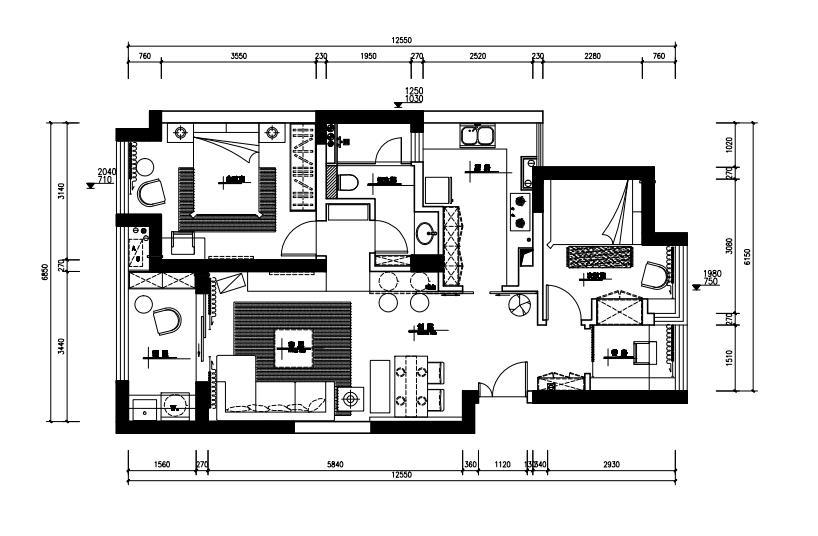 长方形结构房屋詏計图