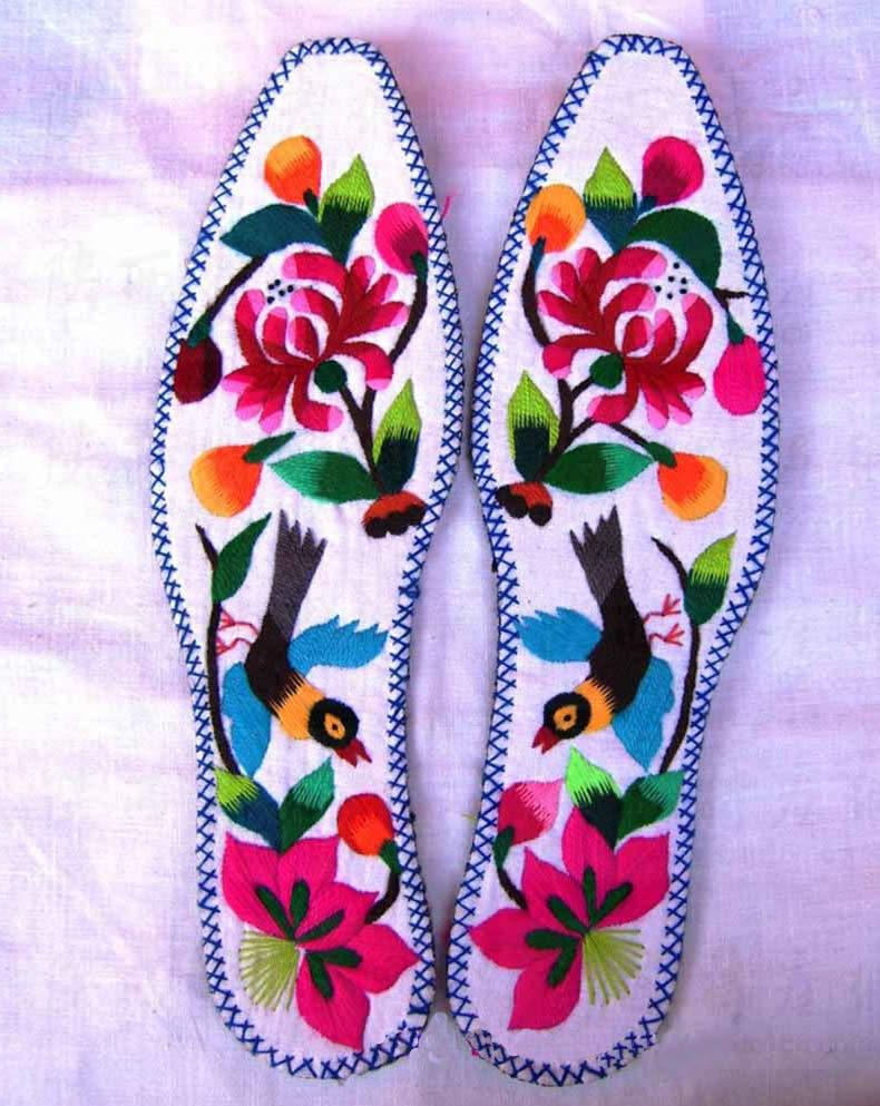刺绣鞋垫纯手工 我想学习纯手工绣花鞋垫的技术,全过程!