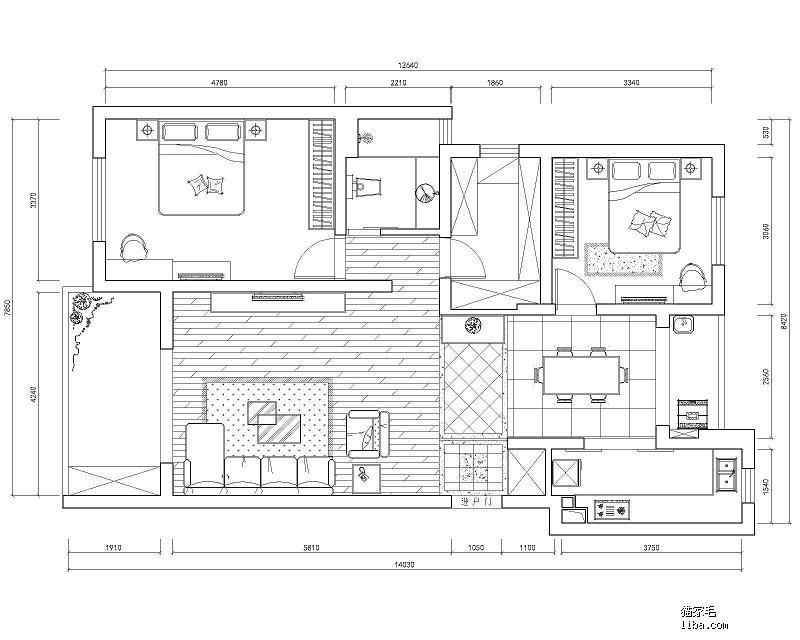 62平正方形房子格局设计图图片