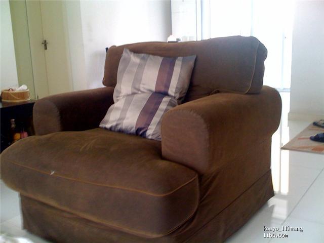 转宜家舒适单人布艺沙发,有图片图片
