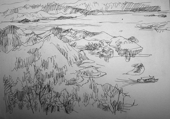 钢笔 墨水 风景速写高清图片