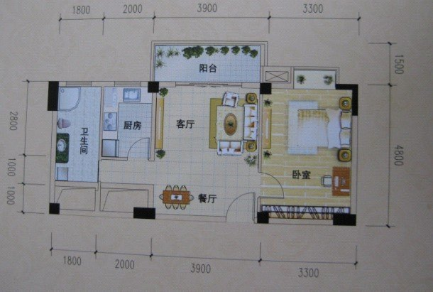 长方形小户型求装修设计高清图片