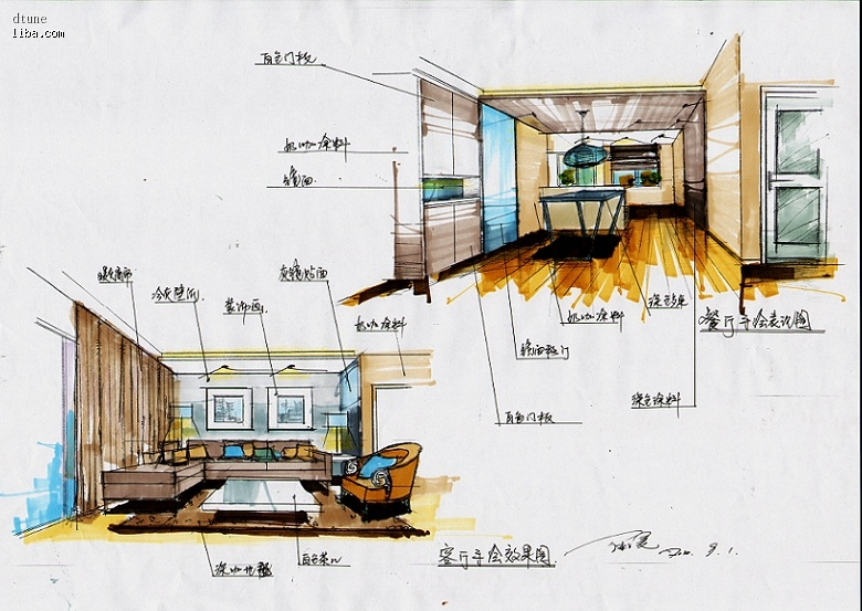 餐厅 厨房手绘效果图