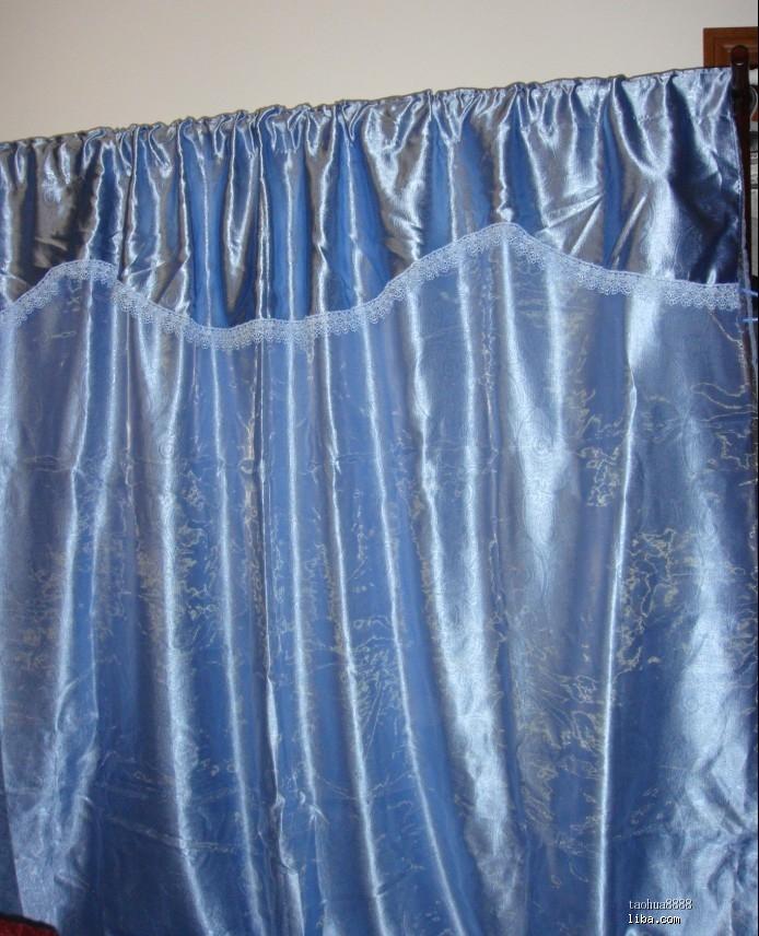 出口原单欧式蓝色印花遮光布带前纱成品窗帘